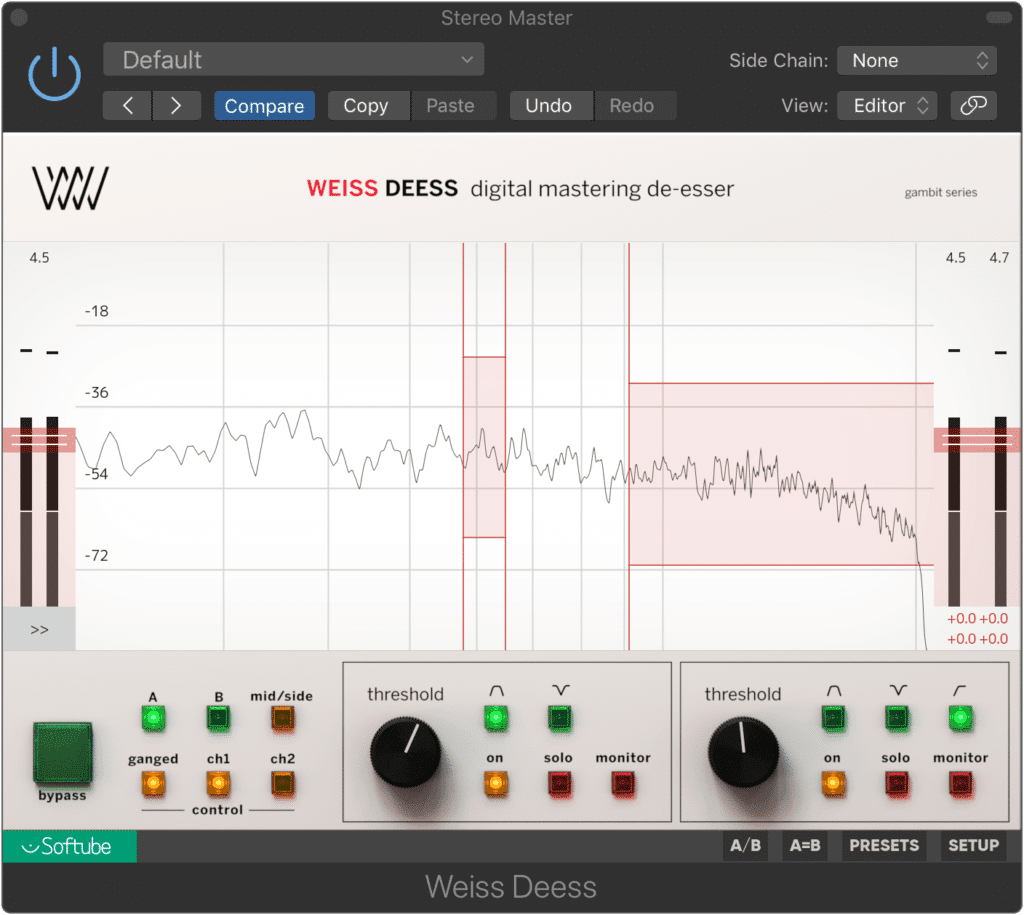 Plugins like this one make de-essing during mastering easier.