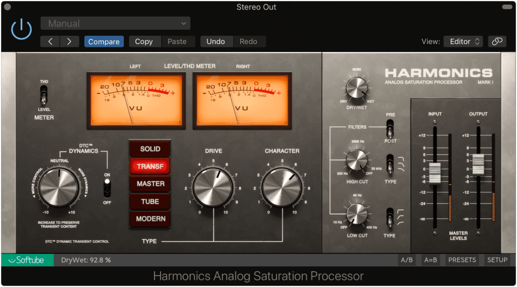 Analog emulation plugins can be used to closely mimic this effect.