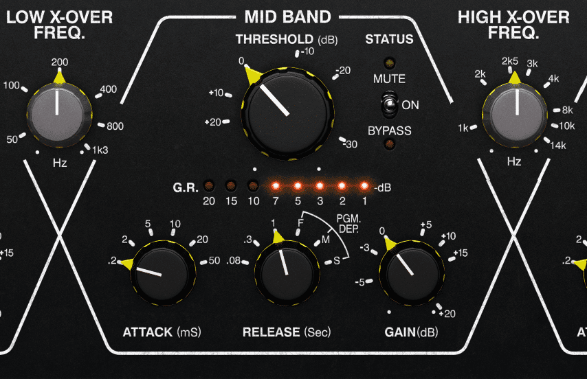 A short attack and long release compressor setting will cause a 'Blur' effect, and cause the instruments to blend together.