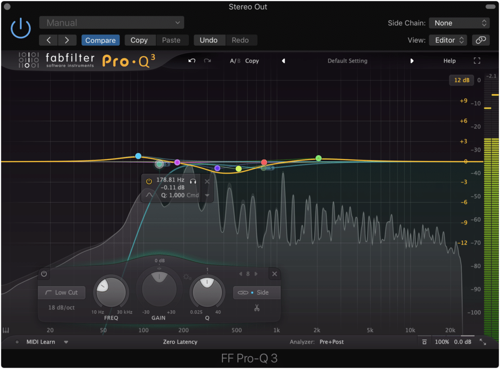 You can make your low-end mono, by attenuating up to 130Hz on the side image of a mid-side equalizer.