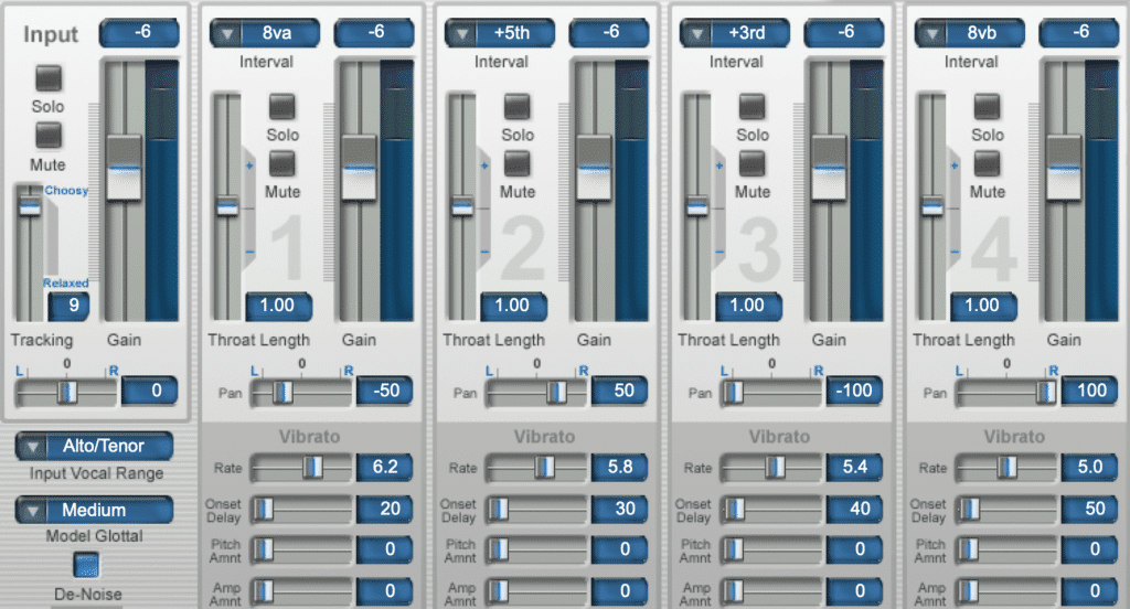 The far left channel is the input, and the subsequent 4 are generated harmonies.