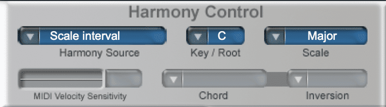 The harmony source function is used to allow for midi-control.