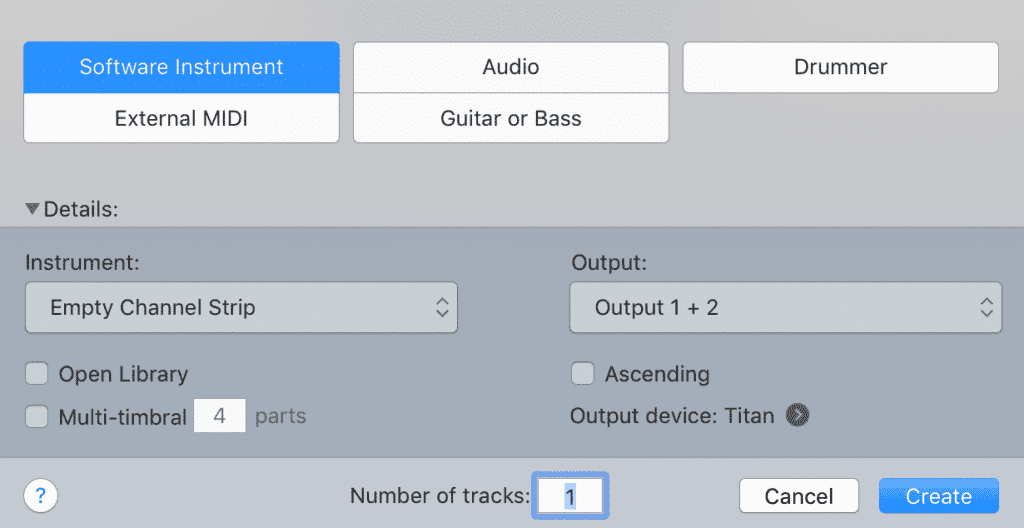 Create a new software instrument track, just as you would an audio track.