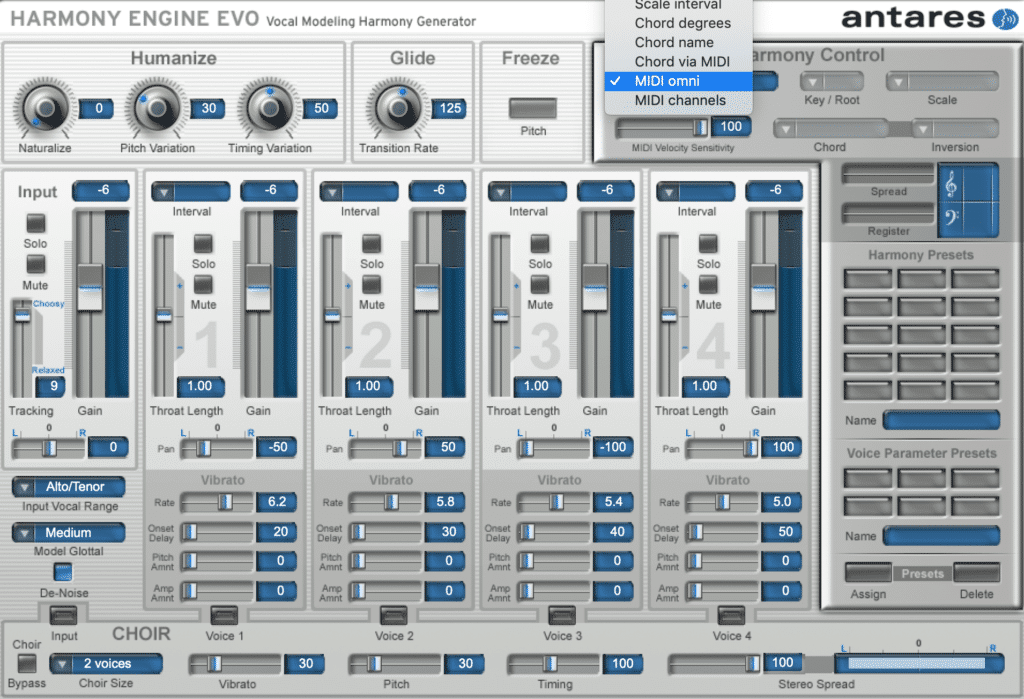 Changing the harmony source to midi-omni makes it possible to control the harmonies with a keyboard.