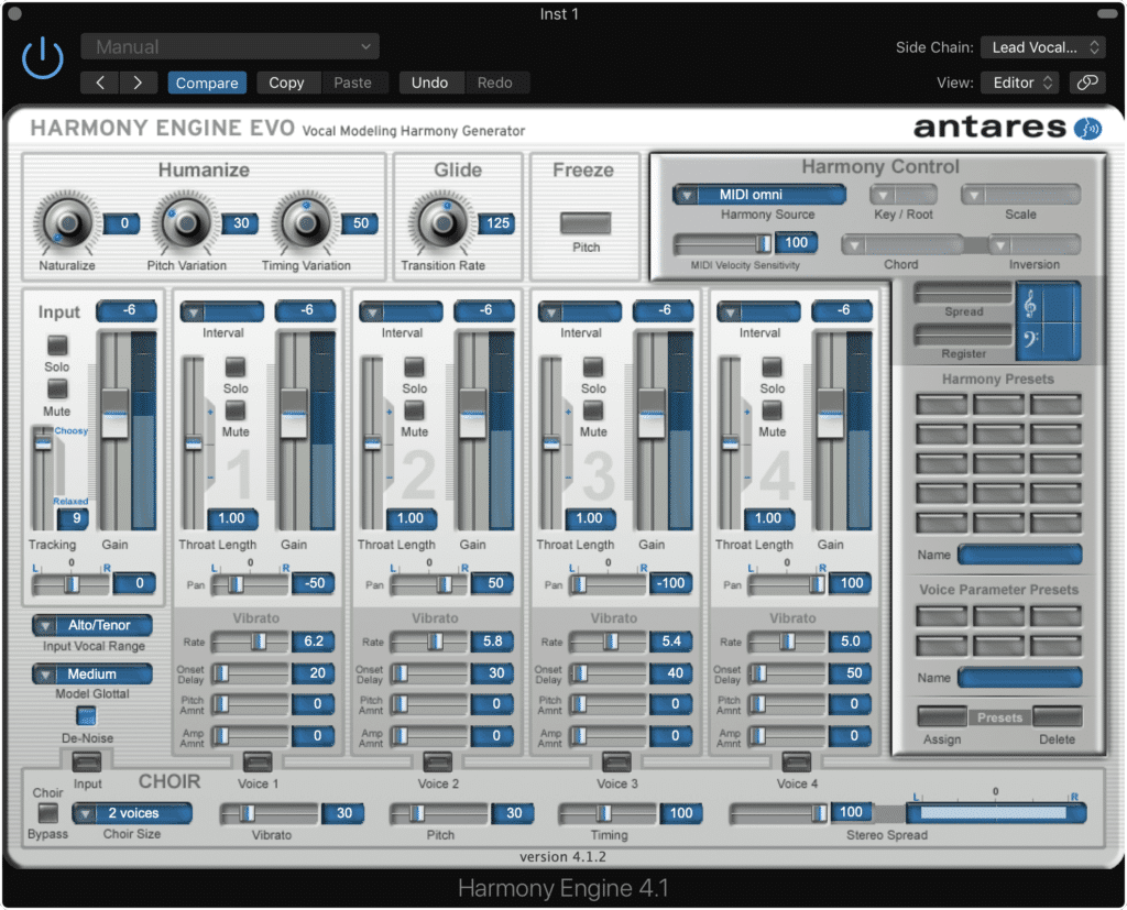 Play the audio track and affect the harmonies with your midi controller.