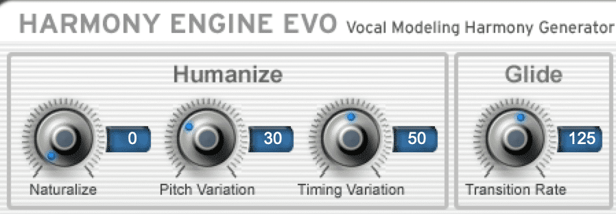 Alter the harmony engine's settings to create an effect you like