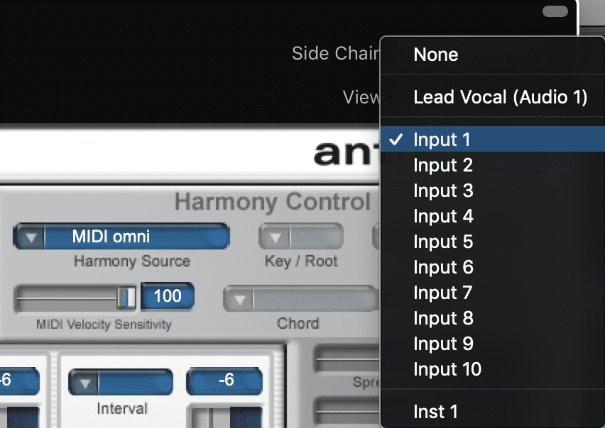 Choose your input as the Side Chain input for the harmony engine.  Do not select your track as you did before, select your input.