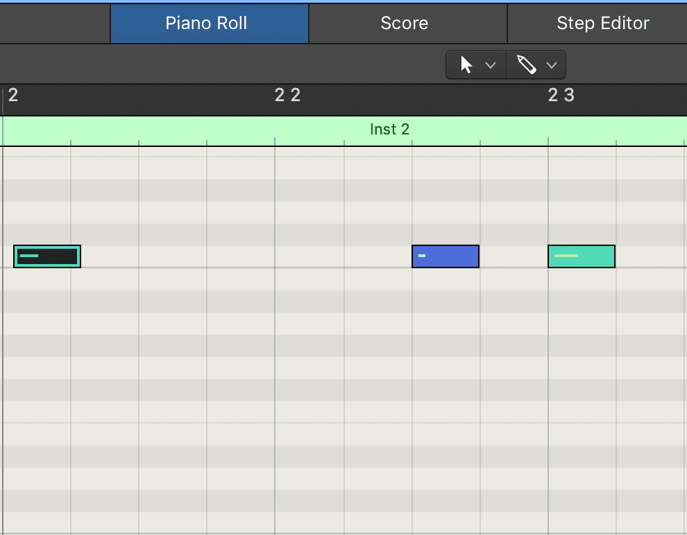 Notice that the midi note on the top left in not aligned with the bar.