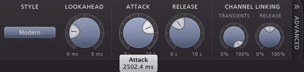 Just like with typical compression, follow the equation detailed above to find the right timings for your attack and release settings during mastering.