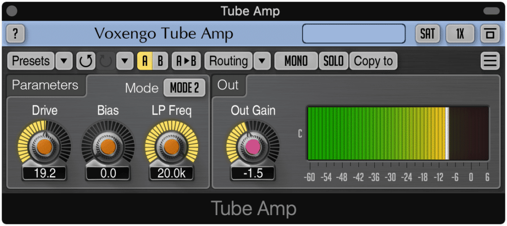 The Tube Amp is a fantastic option for traditional distortion.