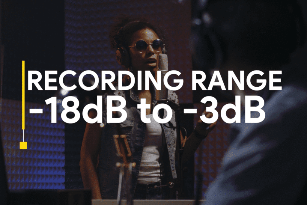 For a cleaner vocal record closer to -18dB, for a more colorful vocal, record closer to -3dB.