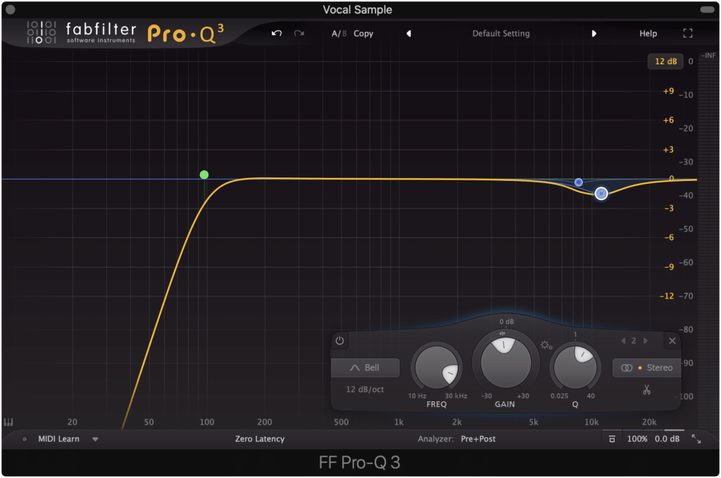 A good starting place is to attenuate the low end with a high-pass filter and to tame the sibilance with a bell filter.