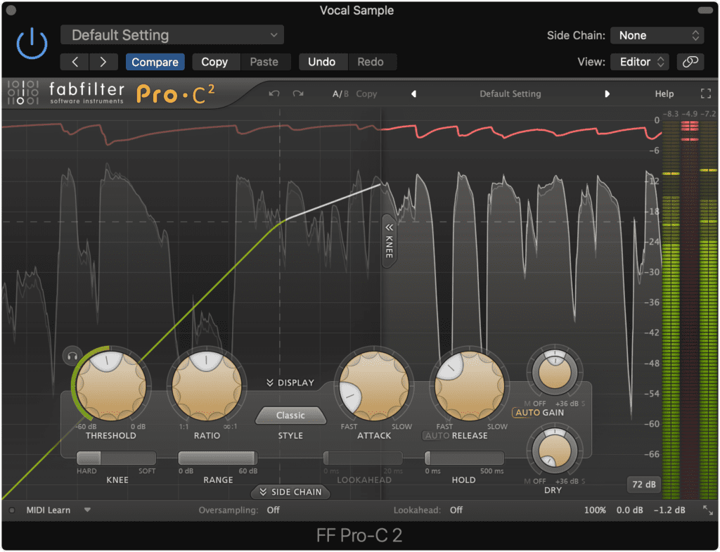 Compression with make-up gain will cause the quieter aspects of your vocal to become amplified.