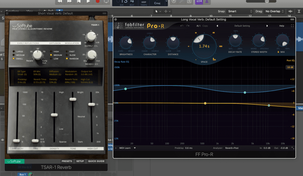 Two reverb sends are helpful - one short reverb send for a doubling effect, and one longer reverb for a more stylized effect.