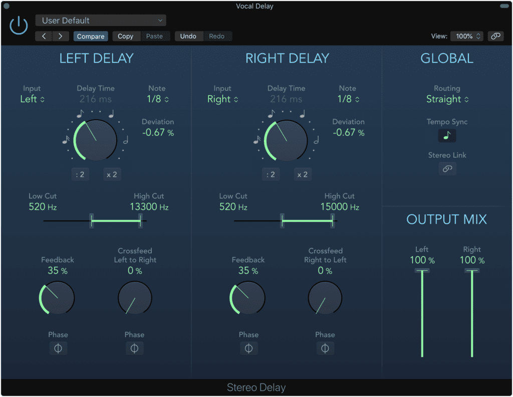 Use delay to add body to your vocal - a shorter delay thickens the vocal, a longer one is a more creative effect.