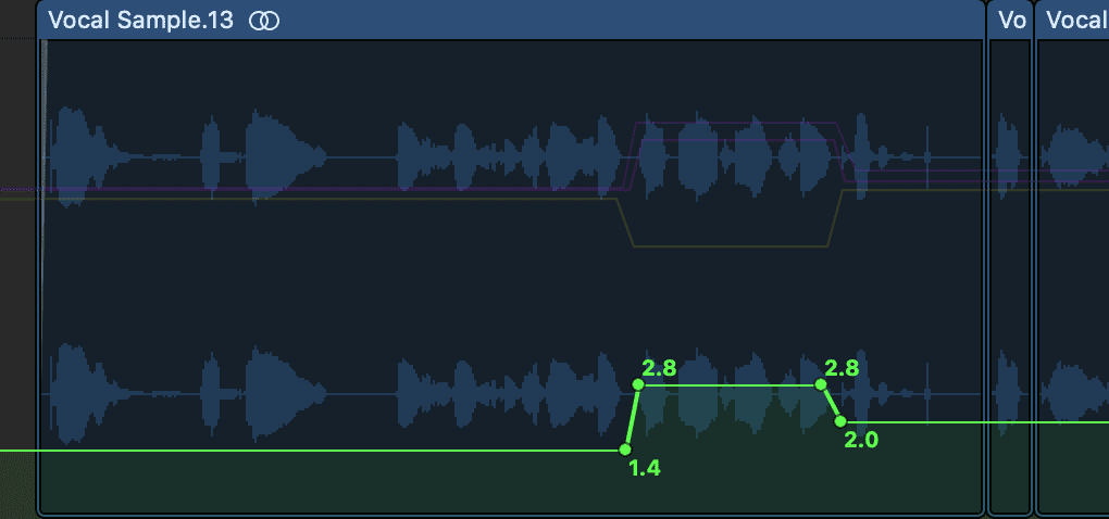 Above, the drive function of a saturation plugin is being increased during a particular section of the vocal.
