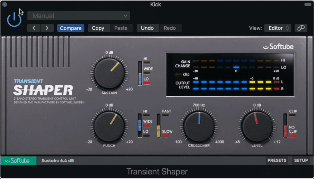 The sustain function on the transient shaper can be used for low-level compression