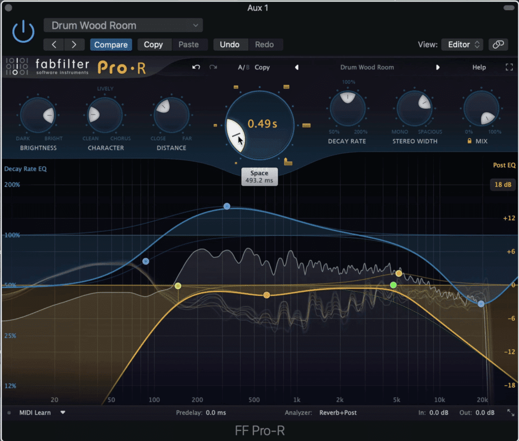 Dampening the high-end of the reverb will cause the mid-range to stick out.  This can make the drum sample sound fuller and more pronounced.