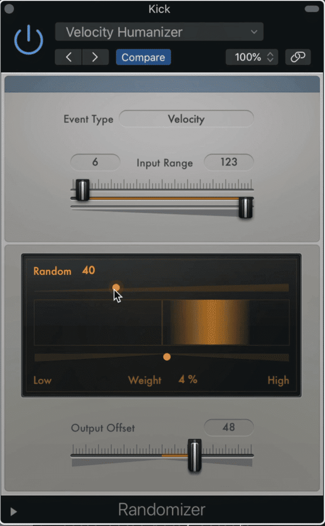 You can use this randomizer midi-effect to randomizer the velocity of your midi notes.  The orange bar shows the range of the midi note velocities.