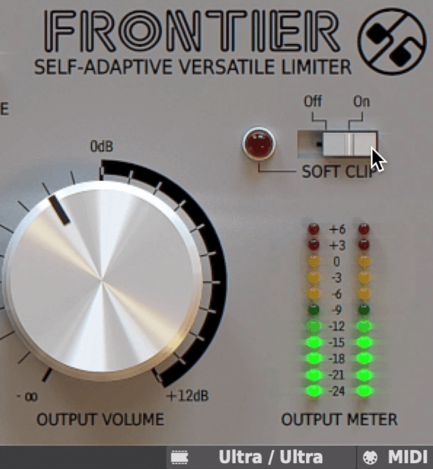 A softy-clip function introduces harmonic distortion.