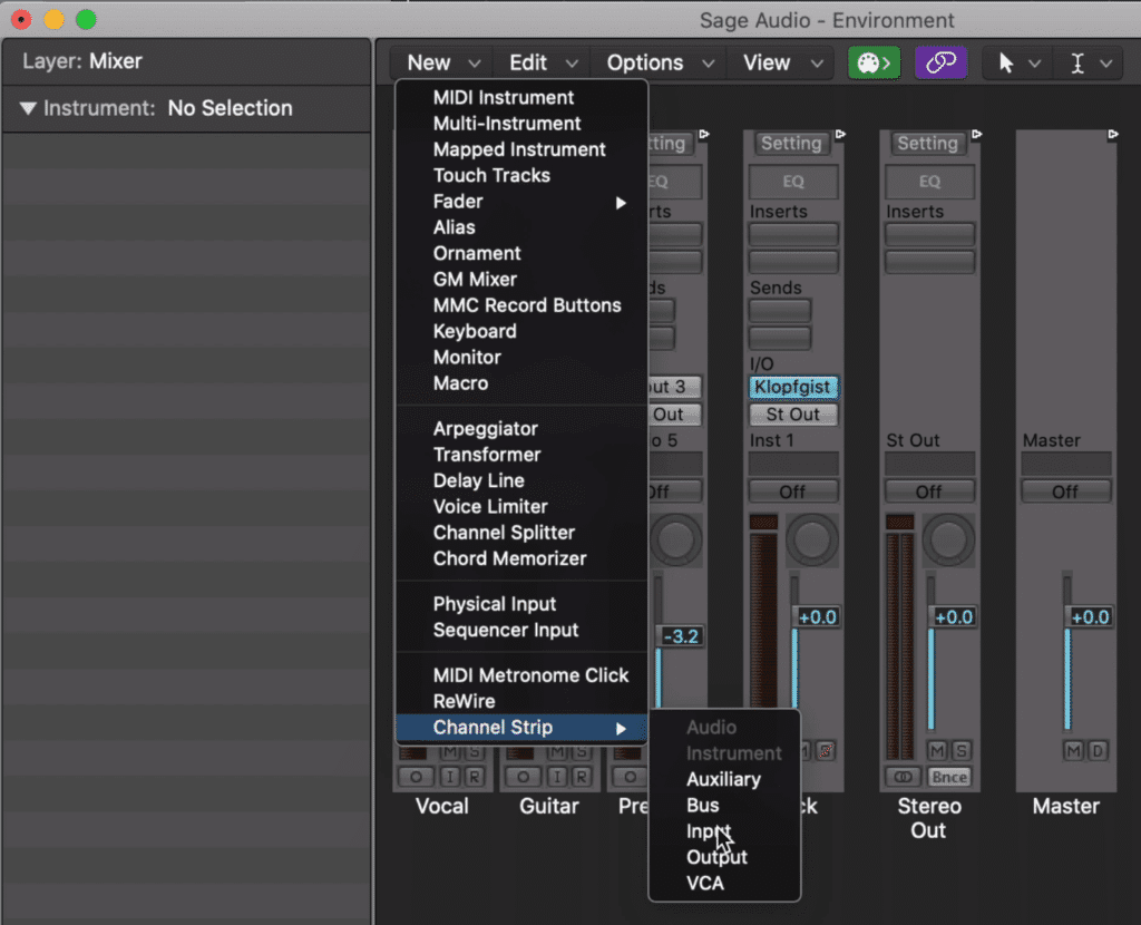 Within Midi Environment Window: New > Channel Strip > Input
