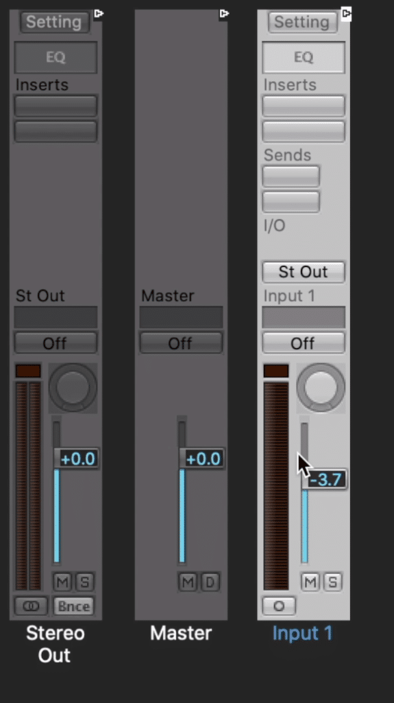 Insert plugins on your new input channel fader