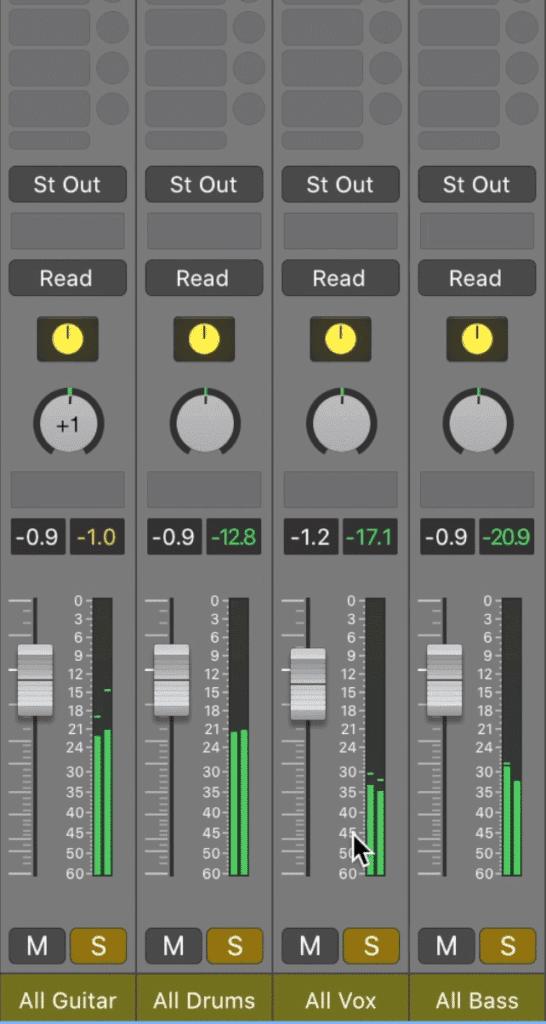 These auxiliary tracks should now contain the entirety of your mix.