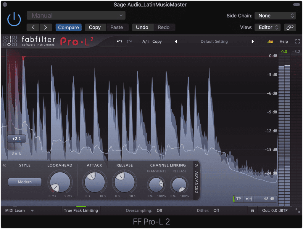 A traditional Latin track will need less limiting, resulting in a quieter master.