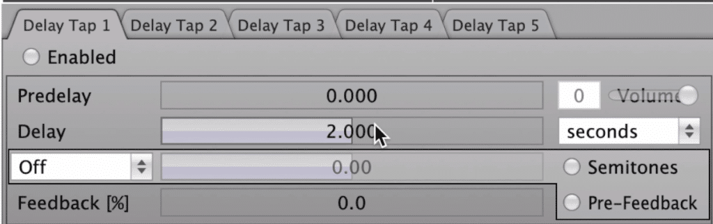 In the first section, you can switch between 5 bands, and control your delay and pitch.
