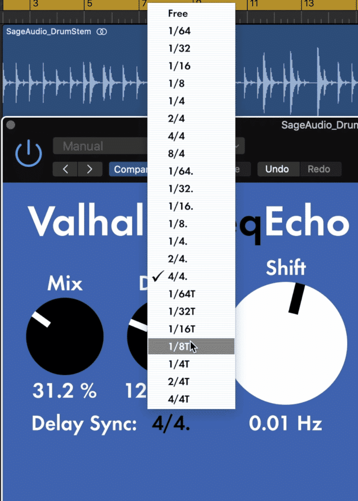You can switch between free delay and delay based on your host bpm.