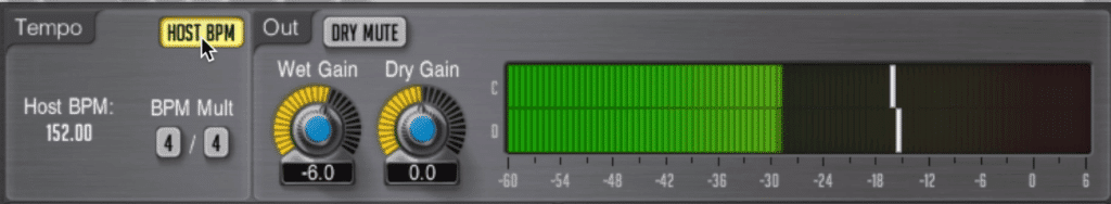 In the master section, you can enable your host bpm, making setting your delay easy.