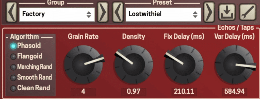 Changing the grain rate and the variable delay will result in the most interesting effects.