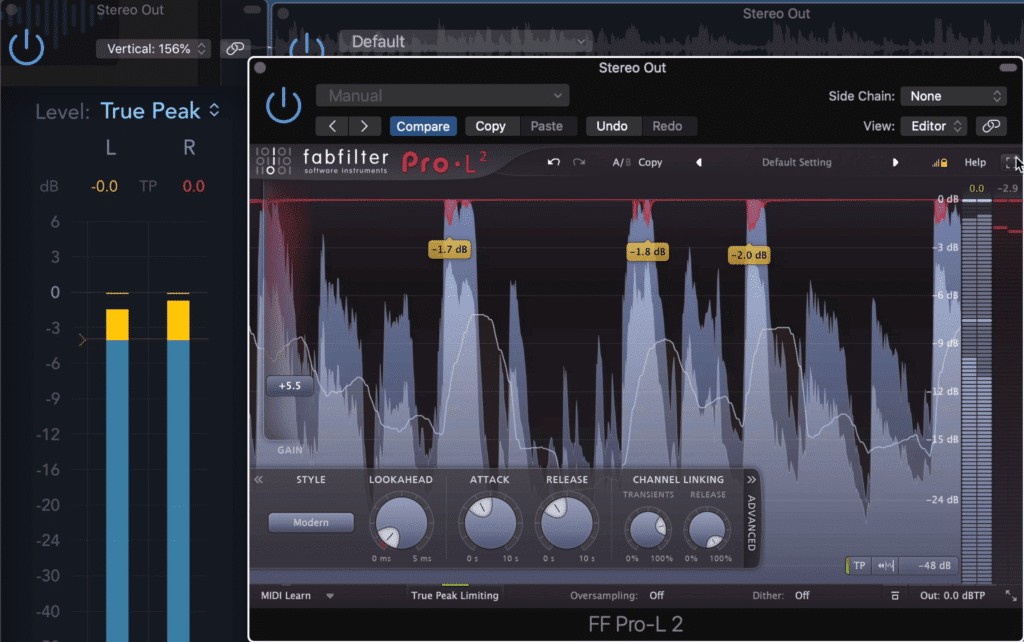 If a track is peaking at exactly 0dB, odds are it has a limiter on the master output.
