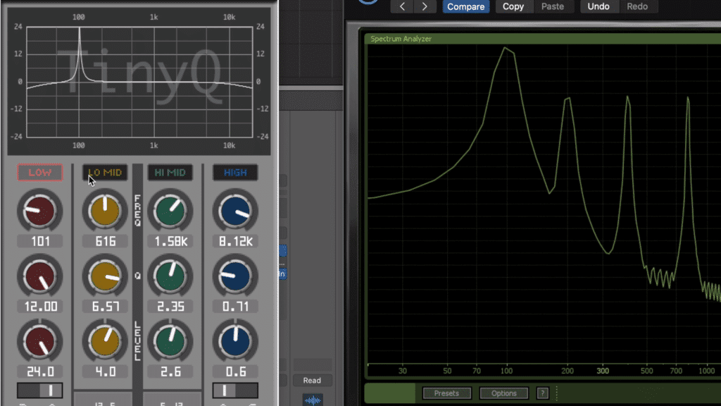 The TinyQ also accurately affects the signal via its eq functions.