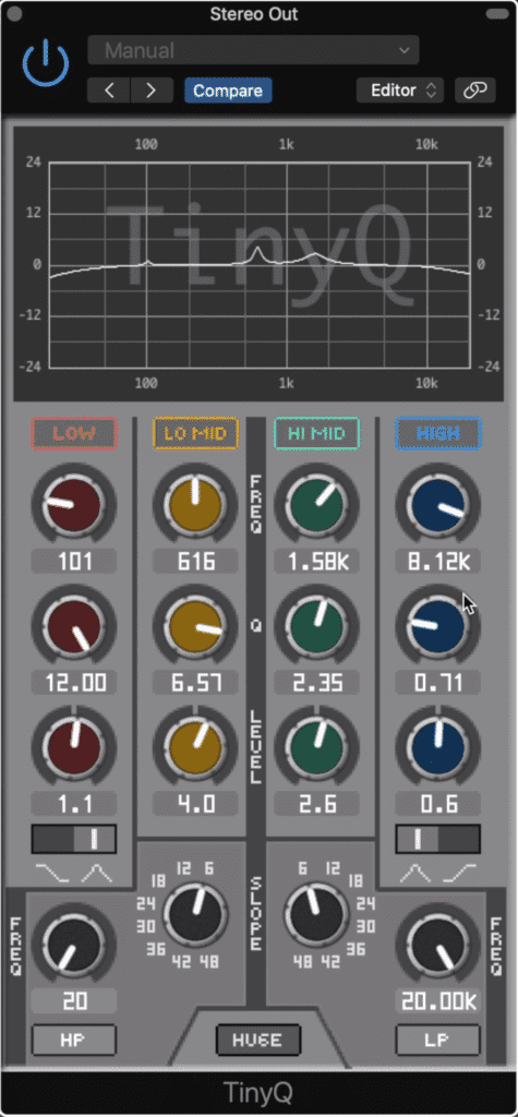 This plugin has 6 EQ bands in total.