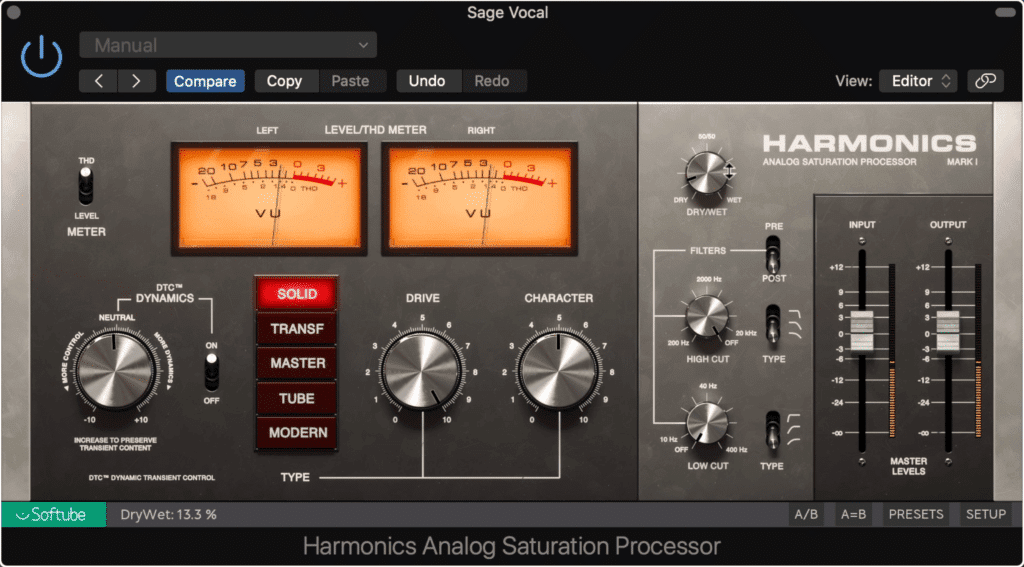 Harmonic generation and saturation can fill in the gaps of the frequency spectrum, and make a recording sound full.
