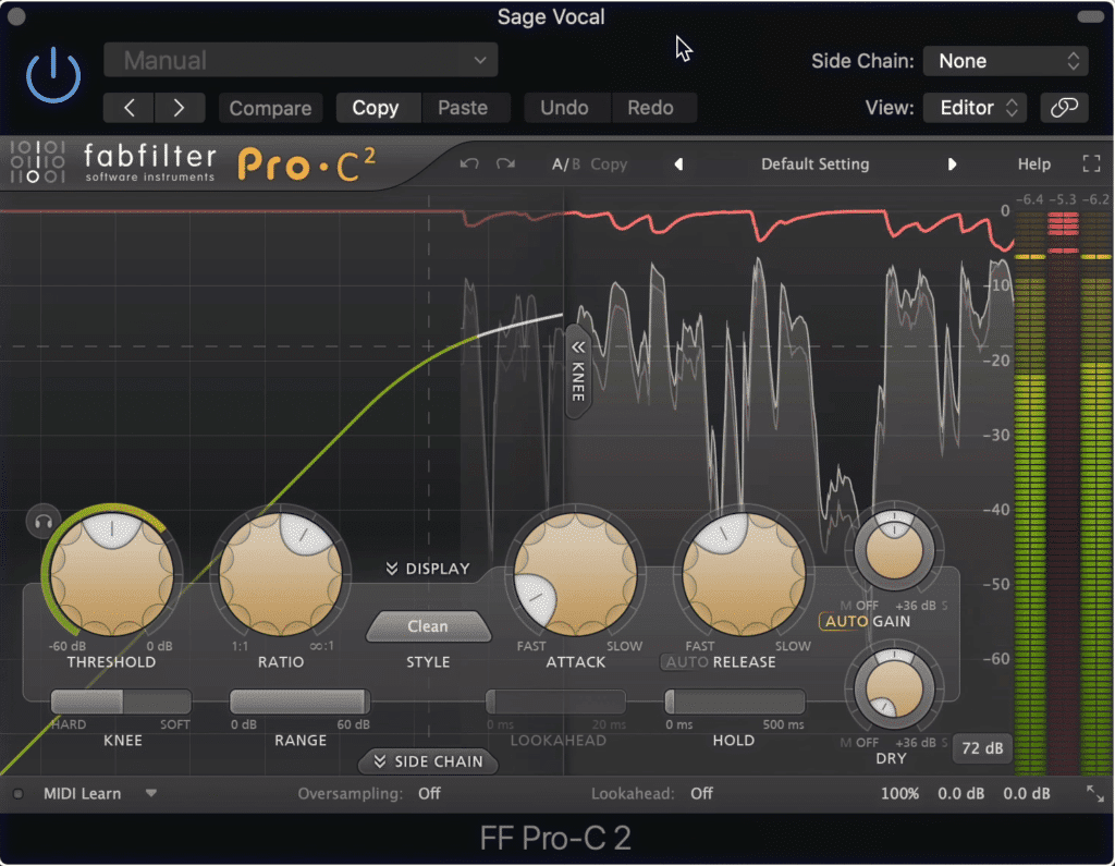 When saturation and compression are combined, it may be too much compression