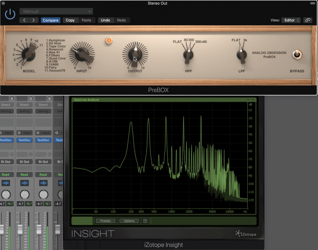 Harmonics can be altered via the rotary on the far left.  11 settings are available.
