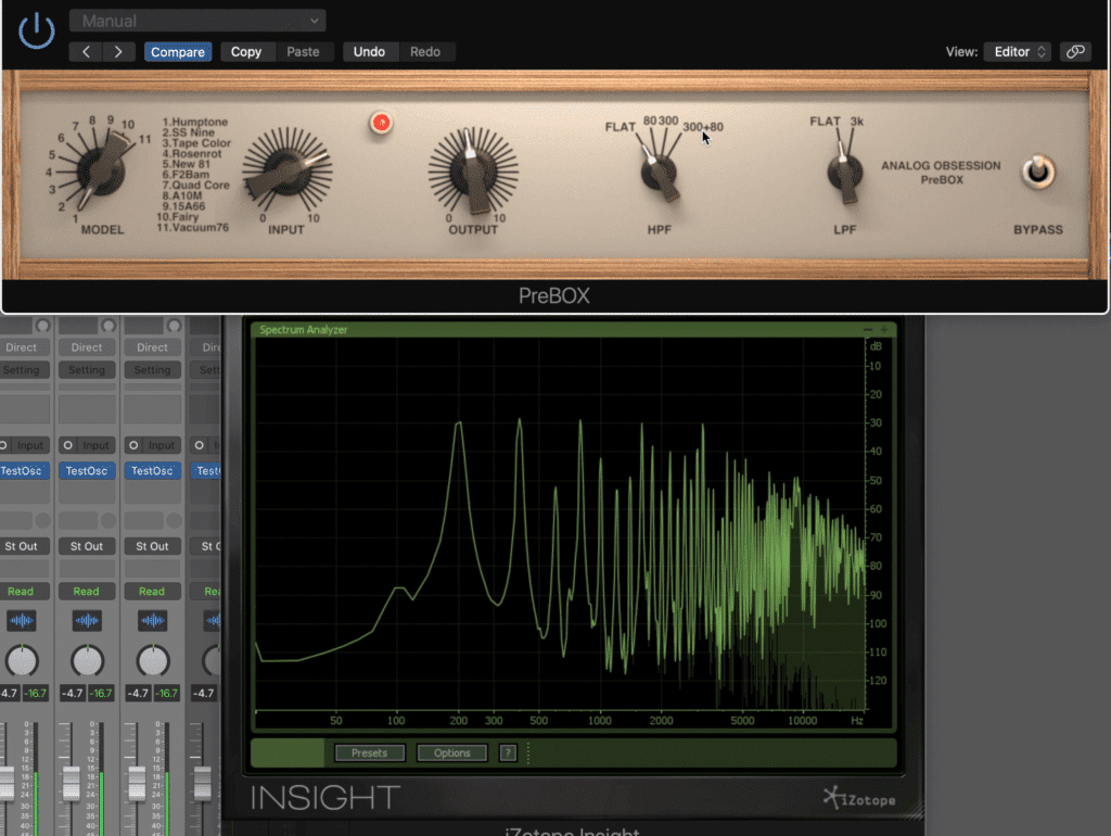 Notice how compression and distortion create saturation.  The original signal is decreasing in amplitude, while the harmonics are increasing, making for a more distorted and compressed sound.