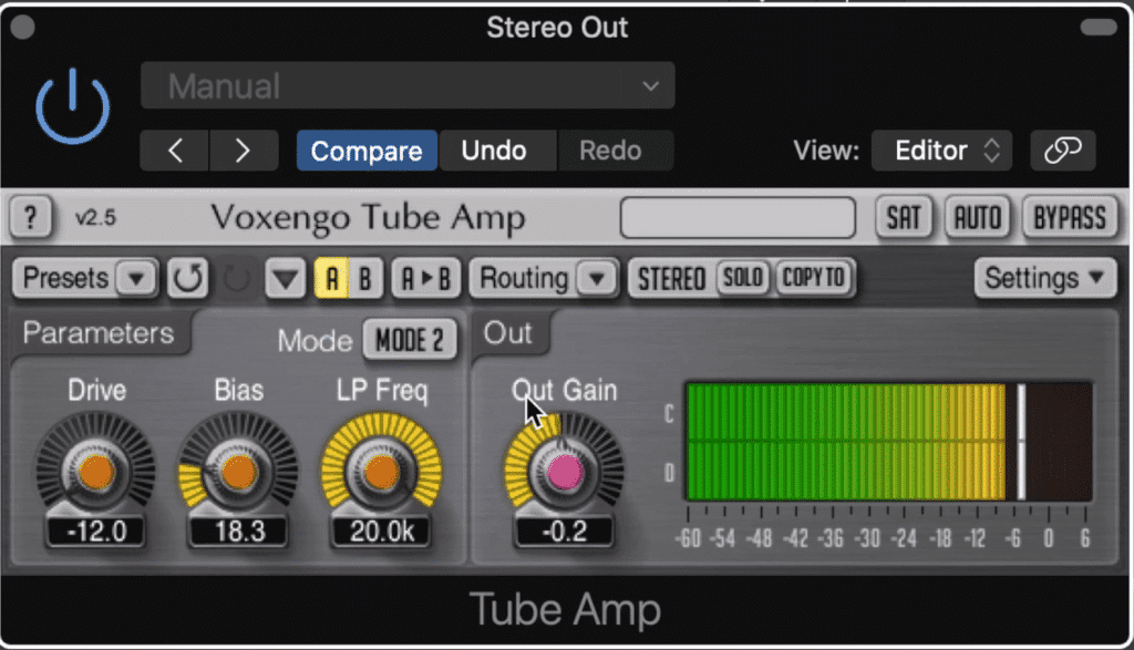 Voxengo's Tube Amp is a more modern take on saturation.