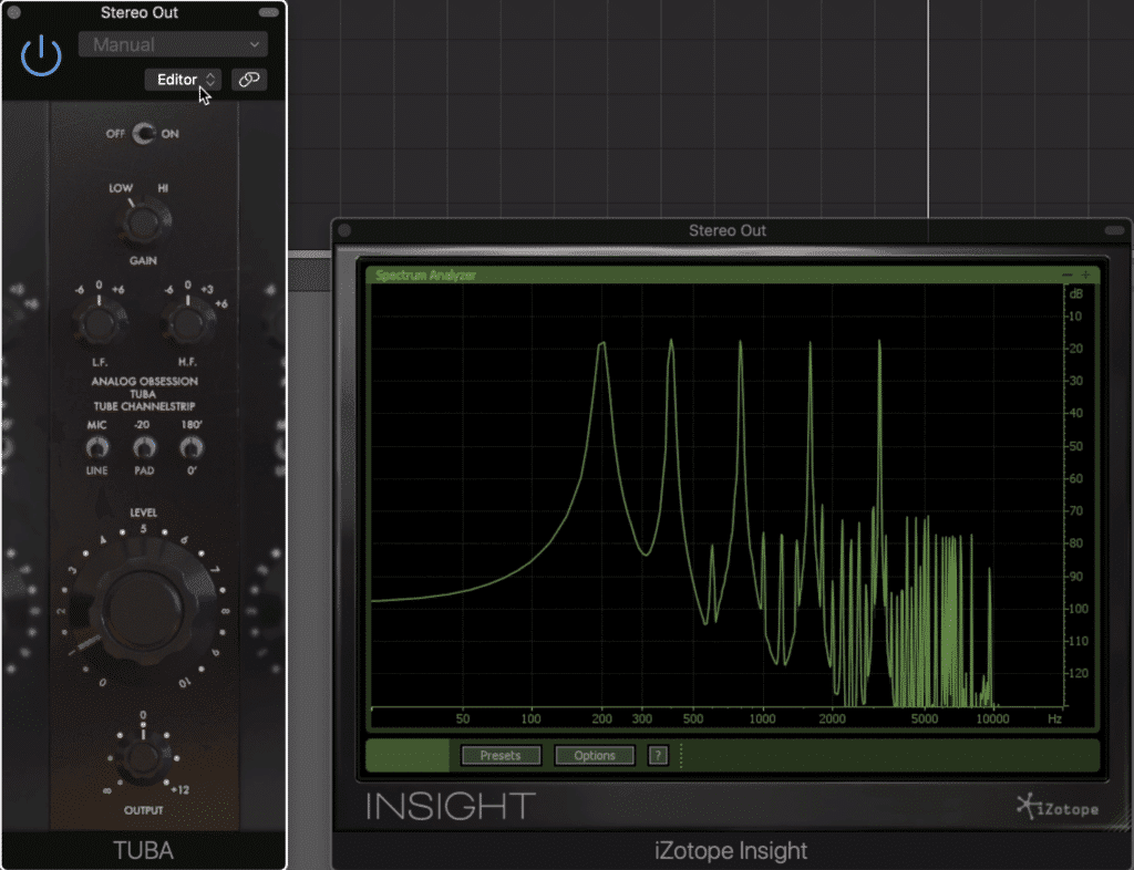 Notice the complex harmonic generation to the right.  All of the harmonics are roughly equal in amplitude.
