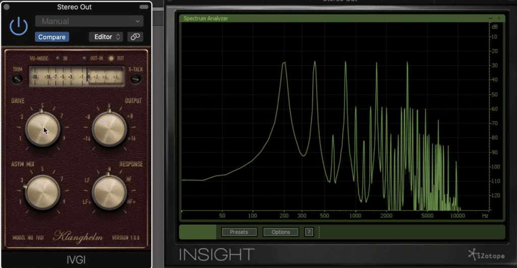 The drive and Asym functions allow for more harmonics and greater compression.