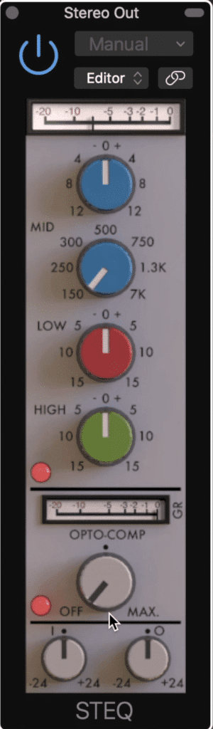 The STEQ combines equalization, compression, and distortion.