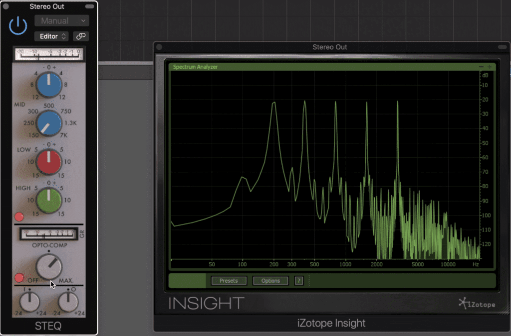 The plugin instantly causes harmonic generation.  These can be made more complex by driving the input and decreasing the output.