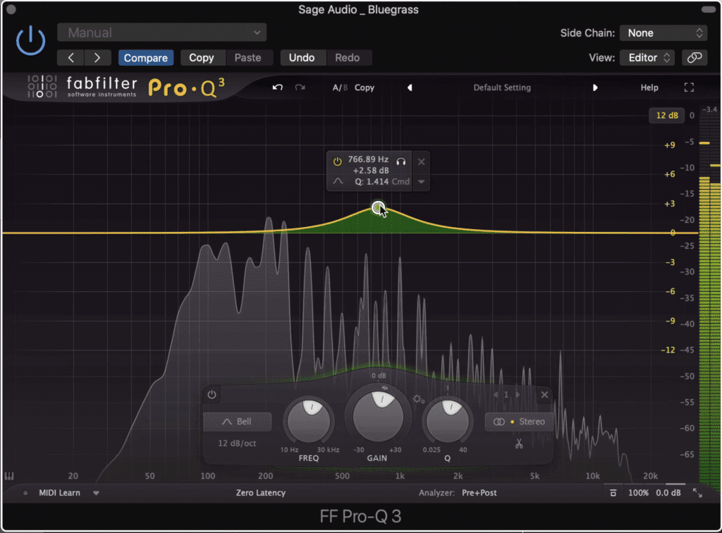 When equalizing a bluegrass master changes greater than 3dB shouldn't be made.