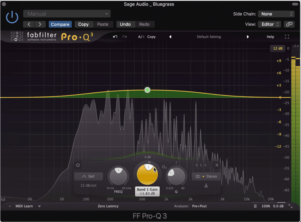 Larger bandwidths sound more natural and can be utilized when mastering bluegrass music.
