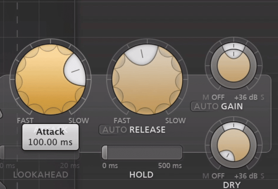 If the attack is 100ms, it takes 100ms before the compressor will begin to compress.