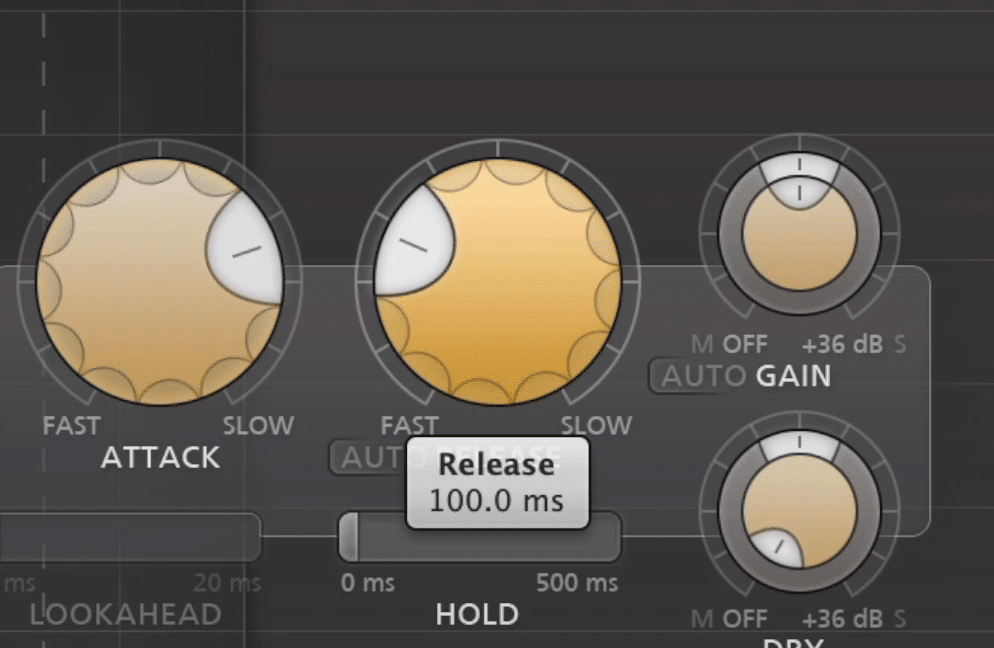 If the release is 100ms, it takes 100ms before the compressor will stop compressing the signal.