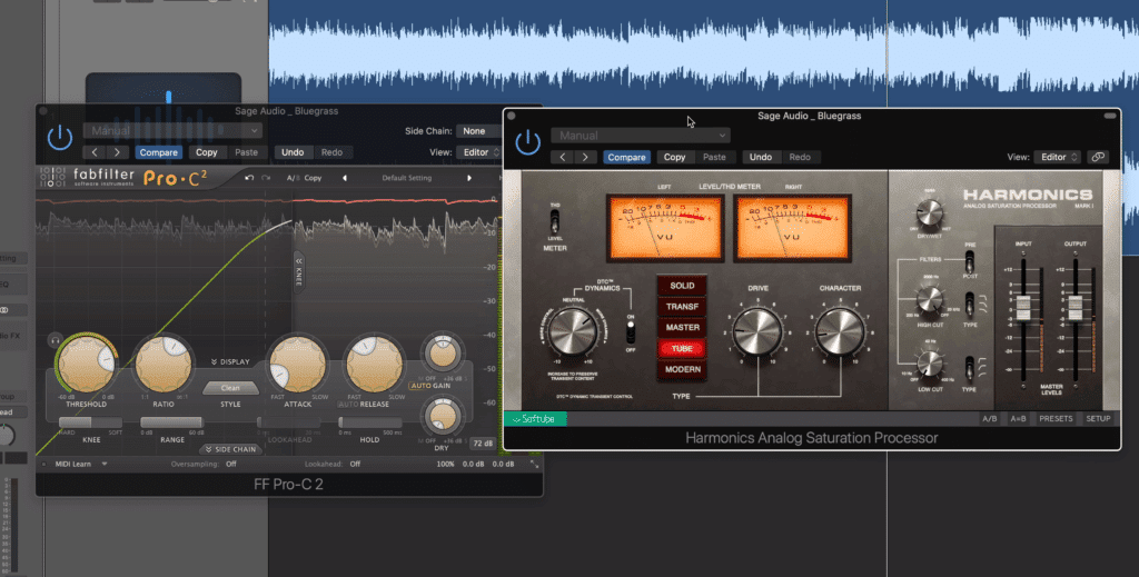 If you're using compression and saturation, use them both sparingly or use one instead of the other.