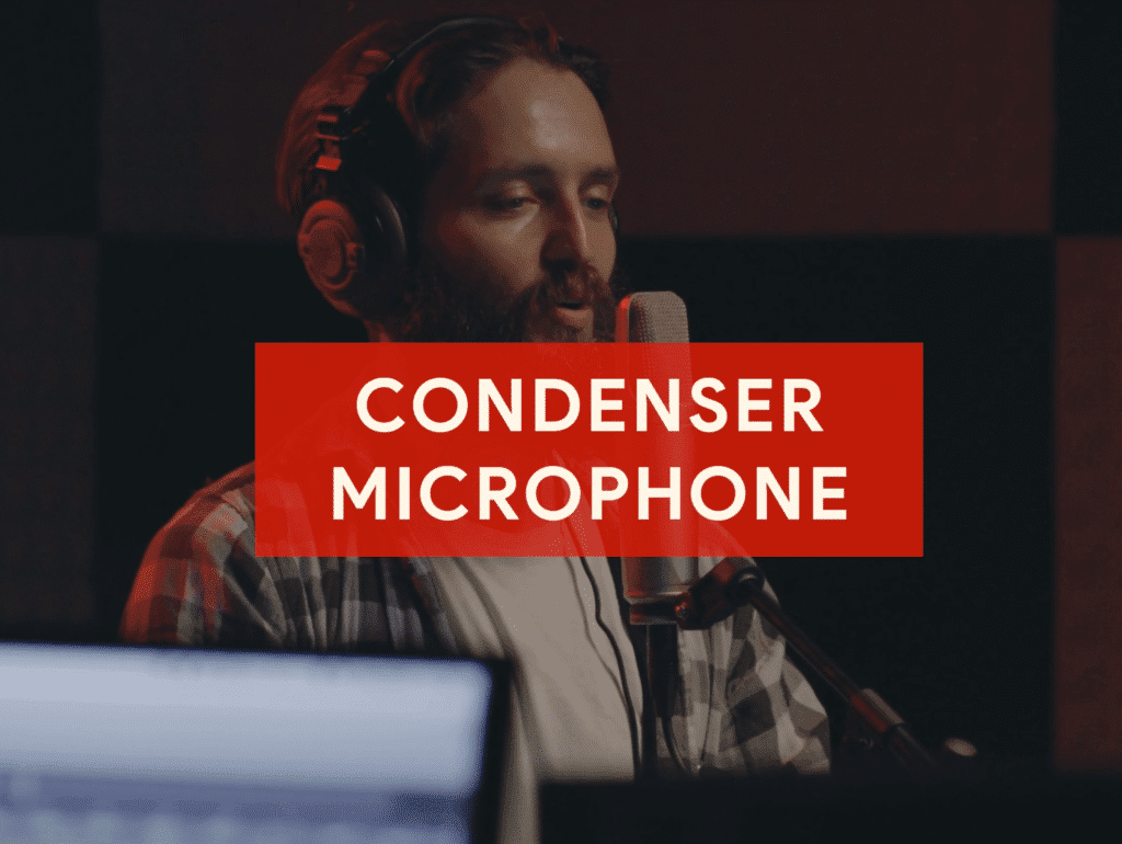 A condenser microphone is a great choice for home recording.